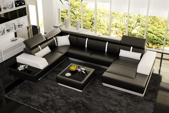ledercouch u form. Black Bedroom Furniture Sets. Home Design Ideas