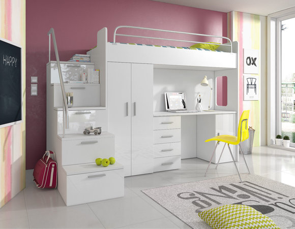 Etagenbett Hochbett Doppelstockbett : Doppelstockbett stockbett bett etagenbett mit schreibtisch
