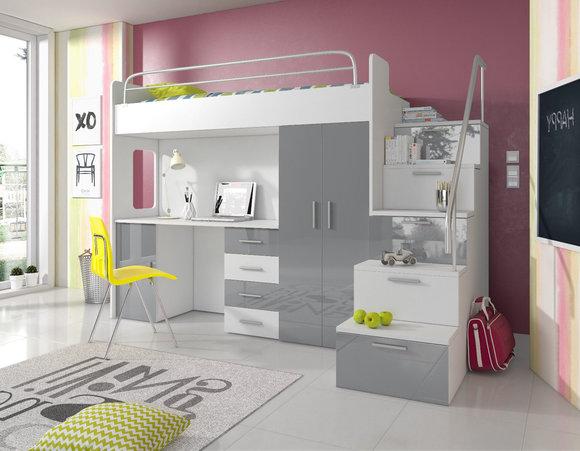 doppelstockbett stockbett bett etagenbett mit schreibtisch kleiderschrank raj 4 s rosa www. Black Bedroom Furniture Sets. Home Design Ideas