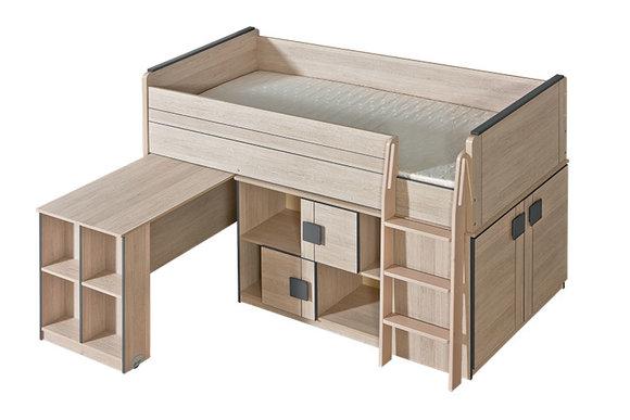 Komplett Jugendzimmer Kinderzimmer Bett Schreibtisch Schrank viele Regale  NEU