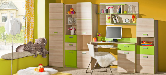 Wohnwand Anbauwand Schrankwand Kinderzimmer Schreibtisch Wohnzimmer