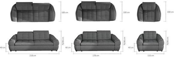 sofagarnitur sofa couch 3 1 1 garnitur mit relax funktion couchgarnitur polster infinity www. Black Bedroom Furniture Sets. Home Design Ideas