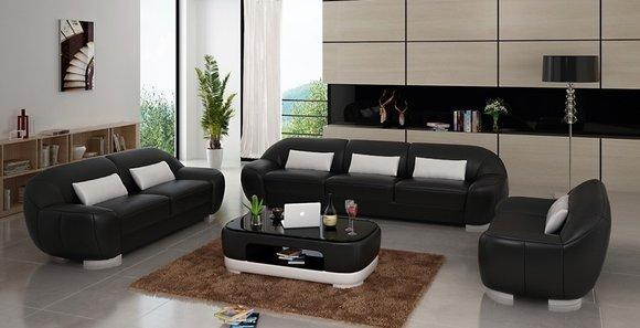 Sofagarnitur Sofa Couch Polster Leder Sitz Komplett Sofas Set 321