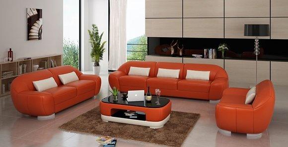 Sofagarnitur Sofa Couch Polster Leder Sitz Komplett Sofas Set 3+2+1 Homberg  -W