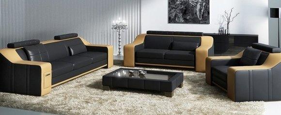 Sofagarnitur Sofa Couch Polster Leder Sitz Neu Sofas Set 321