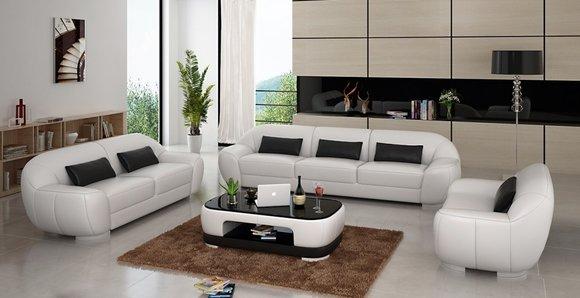 Sofagarnitur Sofa Couch Polster Leder Sitz Komplett Sofas Set 3 2 1