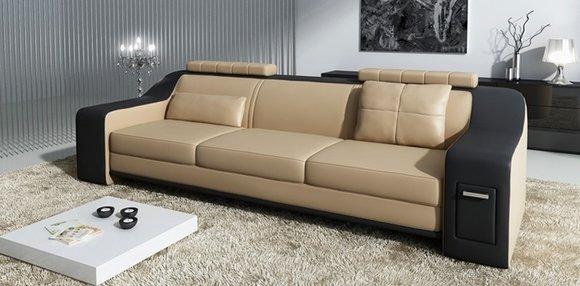 Sofagarnitur 3 2 1 Set Leder Polster Sofa Hutten Couch Designer
