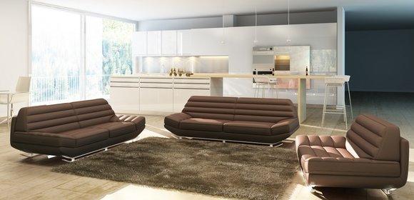 Sofagarnitur Couch Polster Leder Sofa 321 Klassische Couchen