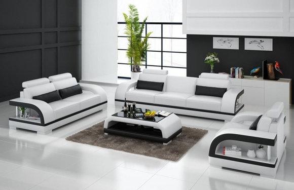 Sofagarnitur Designer Sofa Polster Couch Sitzer Set 321 Leder