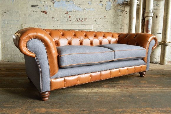 Chesterfield Design Luxus Polster Sofa Couch Sitz Garnitur Leder
