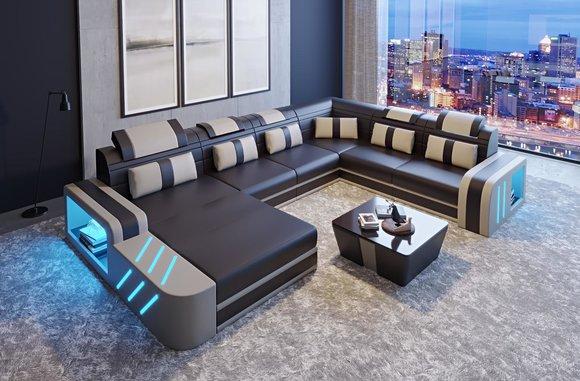 design sofa couch sitz leder polster garnitur wohnlandschaft ecksofa a36 avold u form www. Black Bedroom Furniture Sets. Home Design Ideas