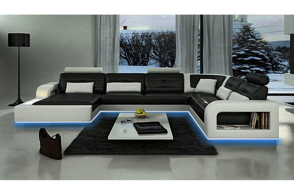 jvmoebel ledersofa wohnlandschaft xxl ledergarnitur ecksofa h2209. Black Bedroom Furniture Sets. Home Design Ideas