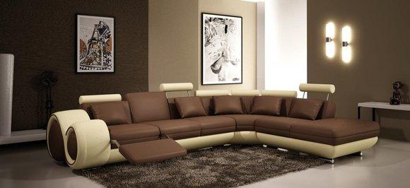 Ledercouch beige  JVmoebel - Ledersofa Couch Sofa Ecksofa Modell Berlin V L-Form