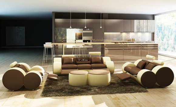 Moderne Wohnzimmer Couch Sitz Polster Garnitur Sofas 3+2+1 Design ...