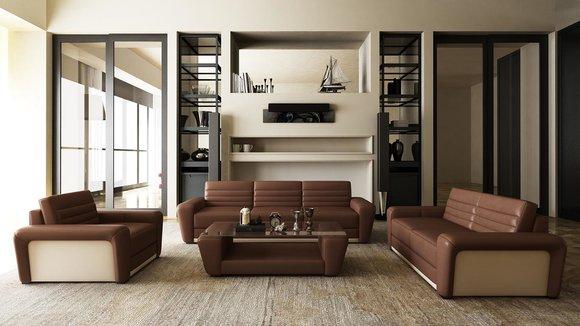 Ledersofa Couch Wohnlandschaft 3+2 Sitzer Design Modern Sofa Wohnzimmer Set  Neu