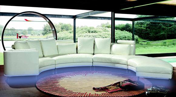 Moderne Rund Couch Wohnlandschaft Runde Sofa Polster Eck Garnitur