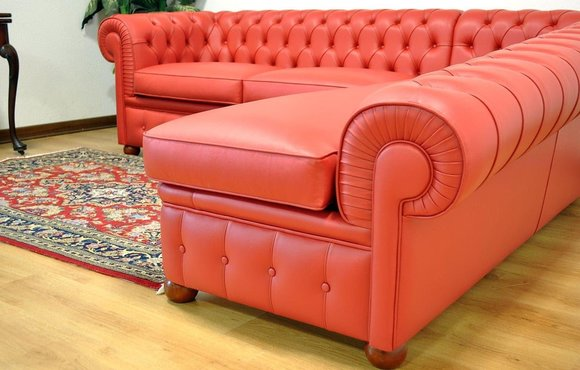 Design Chesterfield Ecksofa Eckcouch Loungesofa Couch Red Leder Sofa