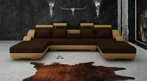 couch u form braun. Black Bedroom Furniture Sets. Home Design Ideas