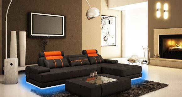 Ecksofa Polster Couch Sofa Wohnlandschaft Sitz Eck Garnitur Leder
