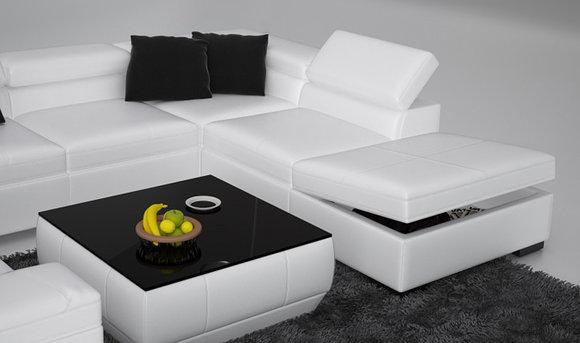 Ledersofa Sofa Couch Wohnlandschaft Ecksofa Eck Garnitur Design