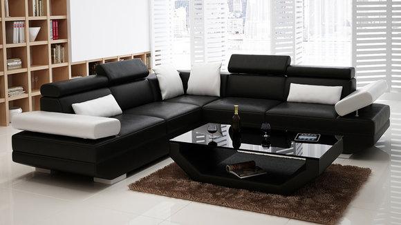 Ledersofa Sofa Couch Wohnlandschaft Ecksofa Garnitur Design Modern