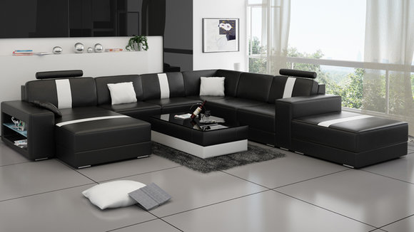 Ledersofa U Form Couch Wohnlandschaft Ecksofa Garnitur Design Modern