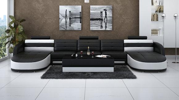 Ledersofa Sofa Couch Wohnlandschaft Ecksofa Garnitur Design Modern ...