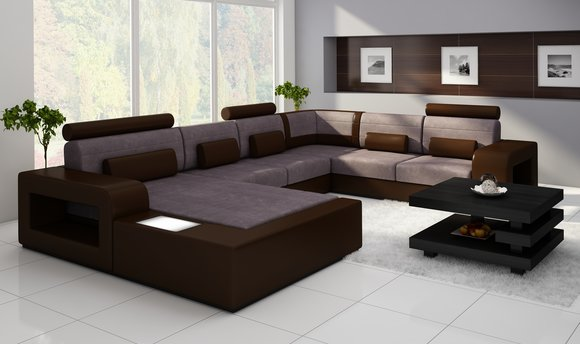 Sofas und ledersofas h2209 bettfunktion designersofa for Ecksofa textil