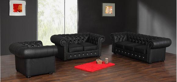 Chesterfield Ledersofa CLASSIC SOFA (FW) Farben schwarz,braun,weiss
