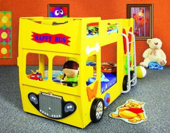 doppelstockbett stockbett mit matratze bett doppelbett etagenbett betten happy bus. Black Bedroom Furniture Sets. Home Design Ideas